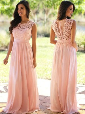 A-Line Princess Scoop Applique Floor-Length Chiffon Dress