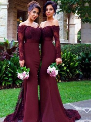 Mermaid Style Off-the-Shoulder Long Sleeves Satin Sweep/Brush Train Bridesmaid Dress