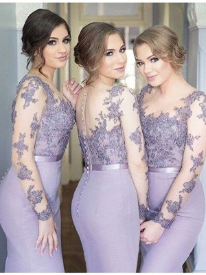 Mermaid Style Scoop Long Sleeves Jersey Floor-Length Bridesmaid Dress