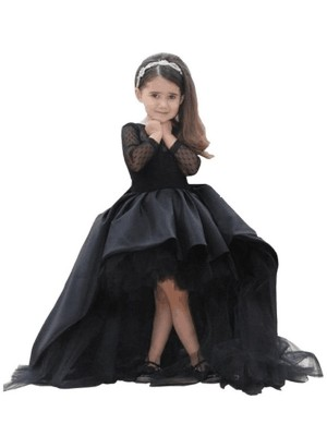 Ball Gown Scoop Long Sleeves Sash/Ribbon/Belt Floor-Length Satin Flower Girl Dress