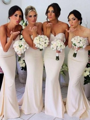 Mermaid Style Sweetheart Beading Floor-length Satin Bridesmaid Dress