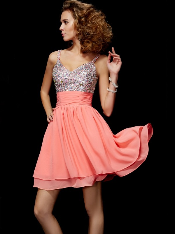 A-line Princess V-neck Lovely Beading Short Chiffon Homecoming Dress