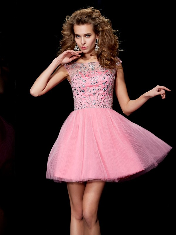 A-line Princess Bateau Lovely Beading Short Satin Homecoming Dress