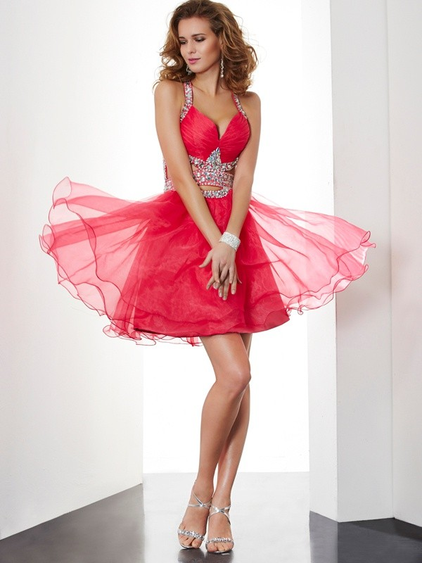 A-line Princess Halter Lovely Beading Short Organza Homecoming Dress