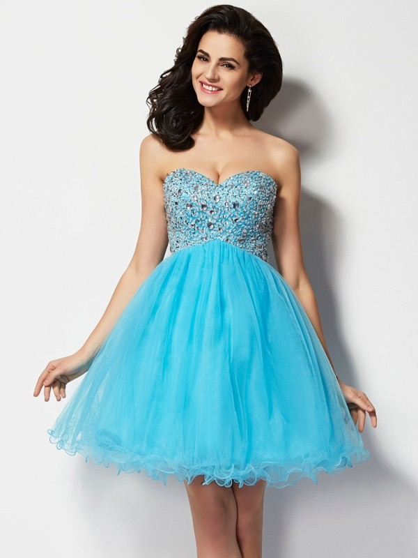A-line Princess Sweetheart Lovely Short Beading Tulle Homecoming Dress