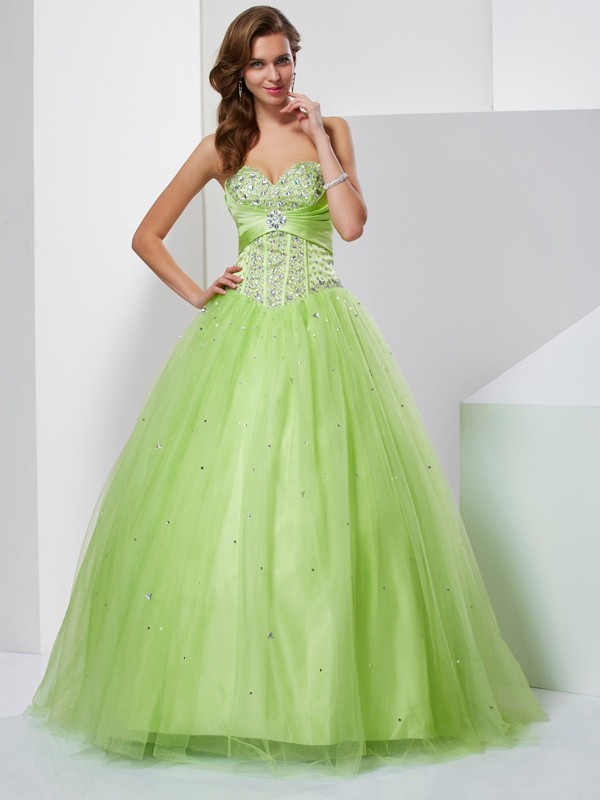 Ball Gown Sweetheart Beading Lovely Long Tulle Quinceanera Dress