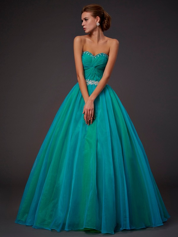 Ball Gown Sweetheart Lovely Long Beading Tulle Quinceanera Dress