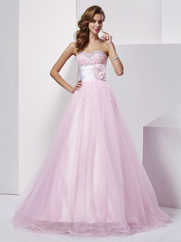 Ball Gown Strapless Lovely Beading Long Elastic Woven Satin Quinceanera Dress