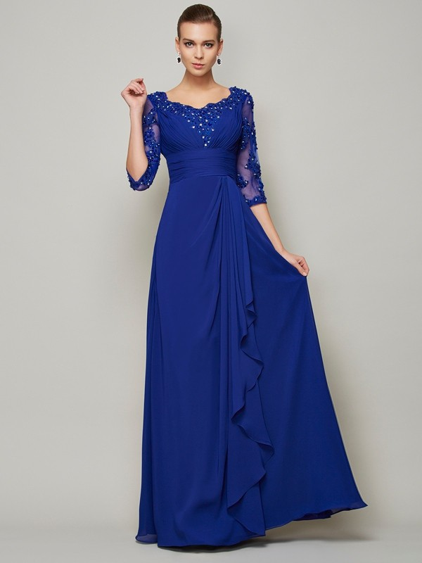 A-line Princess Scoop 3/4 Sleeves Lace Long Chiffon Mother of the Bride Dress