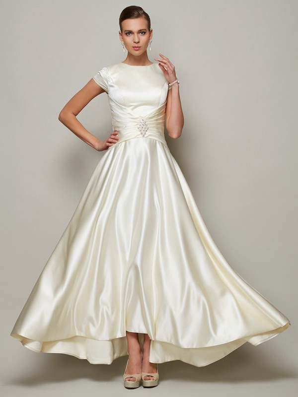 A-line Princess Scoop Short Sleeves Beading Long Satin Mother of the Bride Dress