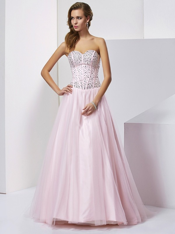 Ball Gown Sweetheart Lovely Beading Long Satin Quinceanera Dress