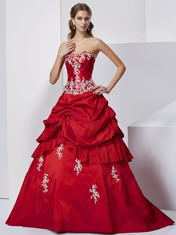Ball Gown Sweetheart Lovely Beading Applique Long Taffeta Quinceanera Dress