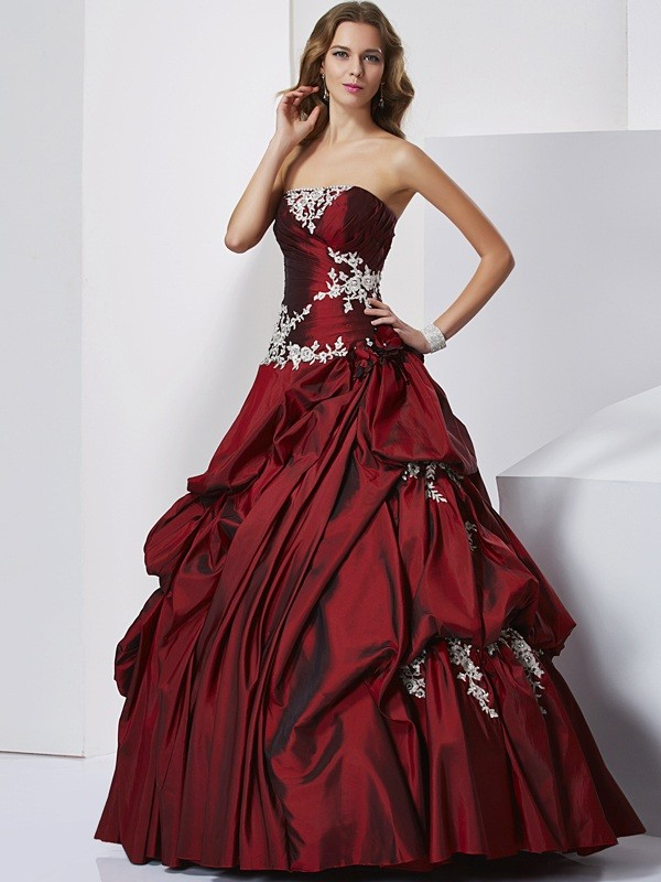Ball Gown Sweetheart Beautiful Beading Long Taffeta Quinceanera Dress