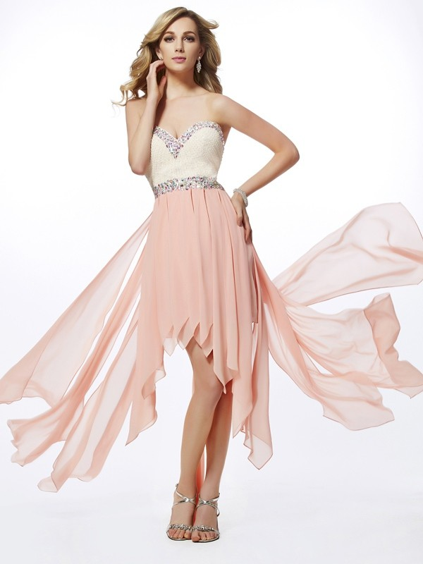 Fashion A-Line Princess Sweetheart Beautiful Beading High Low Chiffon Dress