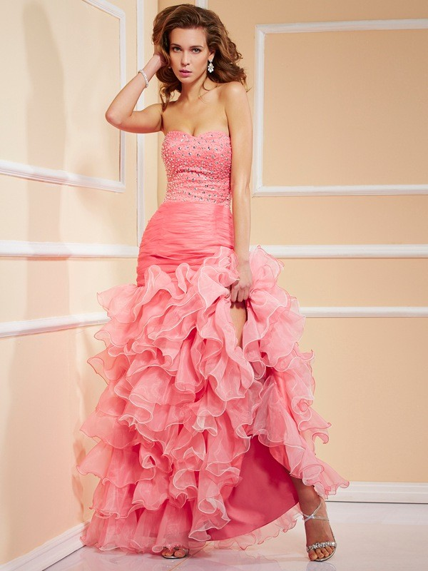 Mermaid Sweetheart Beautiful Ruffles High Low Organza Dress