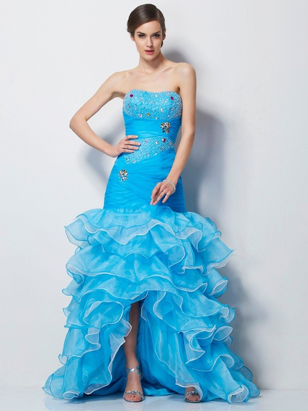 Mermaid Sweetheart Beautiful Beading High Low Tulle Dress