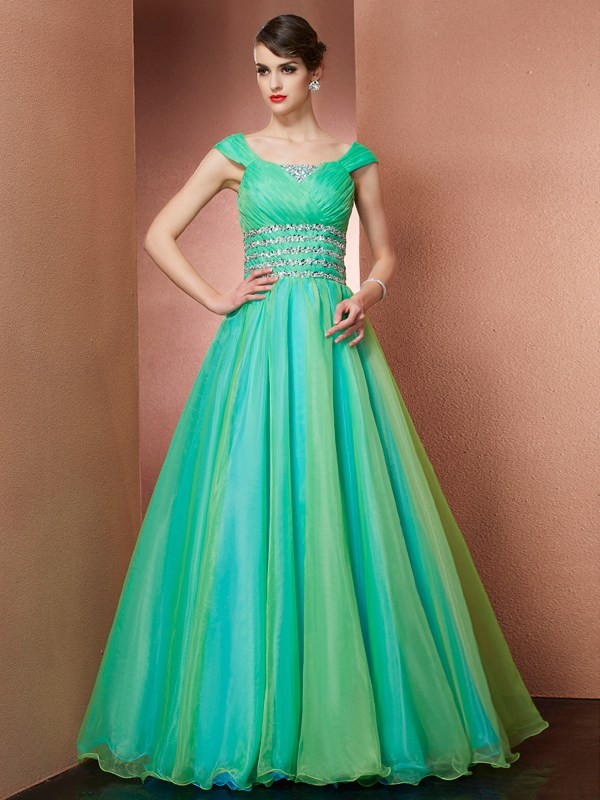 Ball Gown Off the Shoulder Beautiful Beading Long Satin Quinceanera Dress