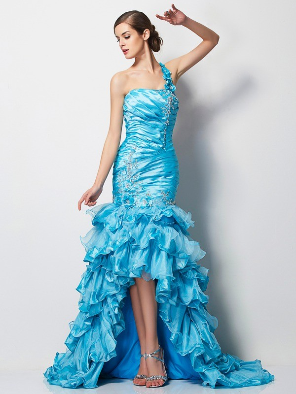 Mermaid One-Shoulder Beautiful Beading High Low Taffeta Dress