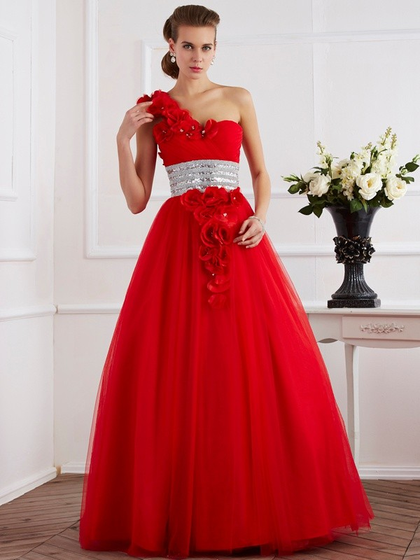 Ball Gown One-Shoulder Beautiful Hand-Made Flower Long Net Quinceanera Dress