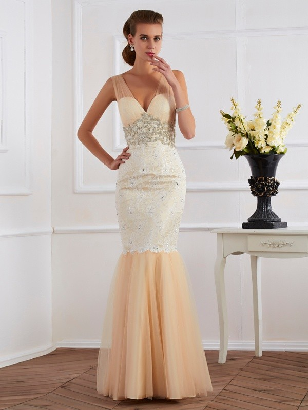 Mermaid Straps Beautiful Beading Long Net Dress