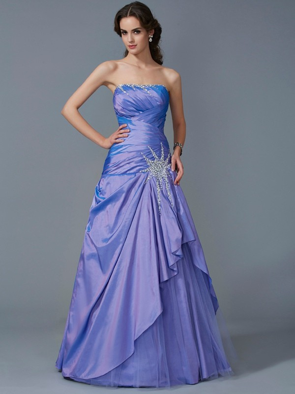 Ball Gown Strapless Beautiful Beading Long Taffeta Quinceanera Dress
