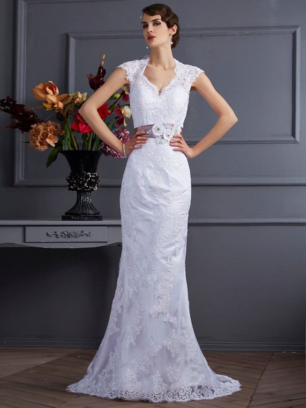 Mermaid Beautiful Applique Long Satin Wedding Dress