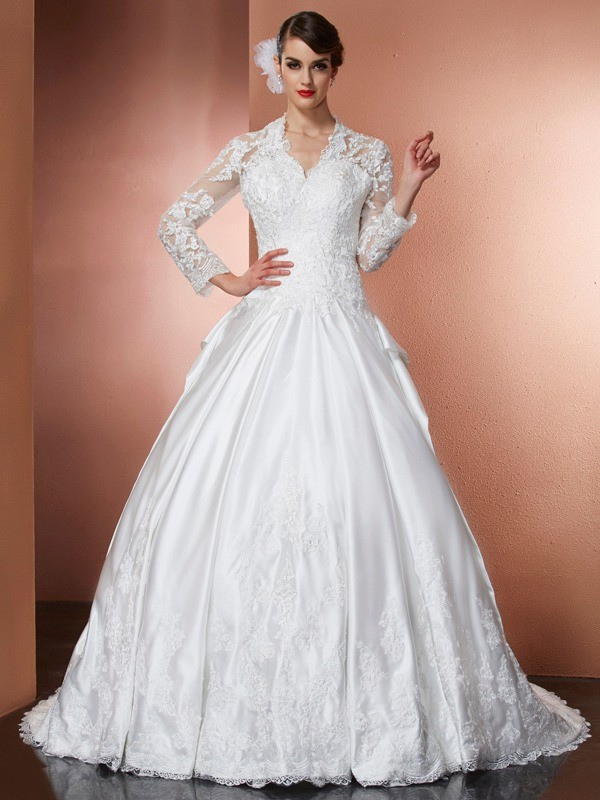 Fashion A-Line Princess V-neck Long Sleeves Applique Long Satin Wedding Dress