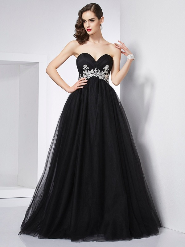 Ball Gown Sweetheart Beautiful Applique Long Net Quinceanera Dress