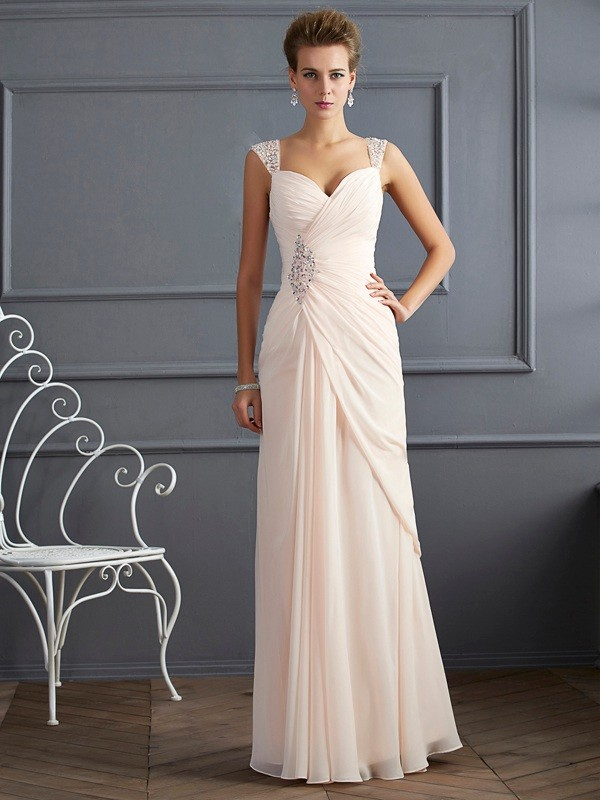 Sheath/Column Straps Beautiful Beading Long Chiffon Dress