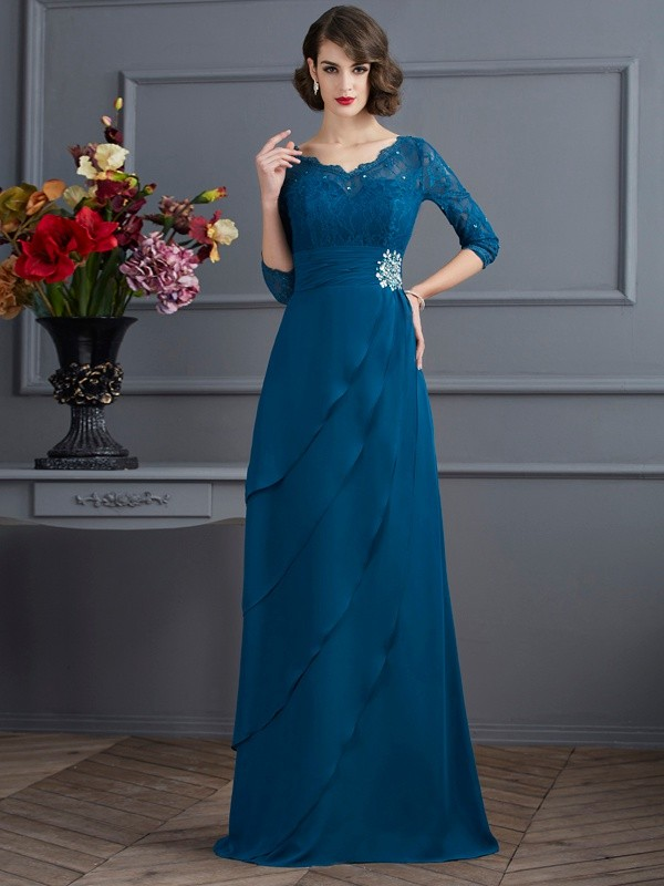 Fashion A-Line Princess V-neck 3/4 Sleeves Long Chiffon Mother of the Bride Dress