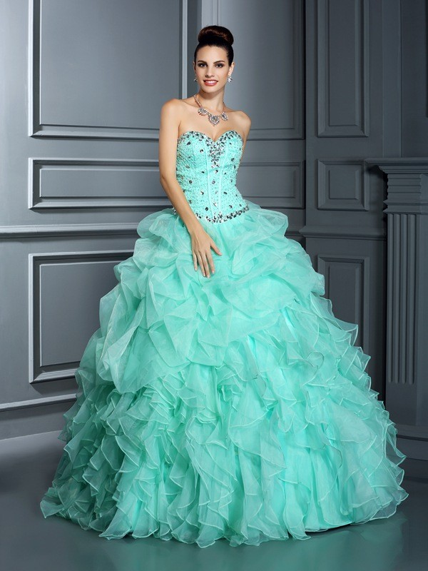 Ball Gown Sweetheart Beading Beautiful Long Organza Quinceanera Dress