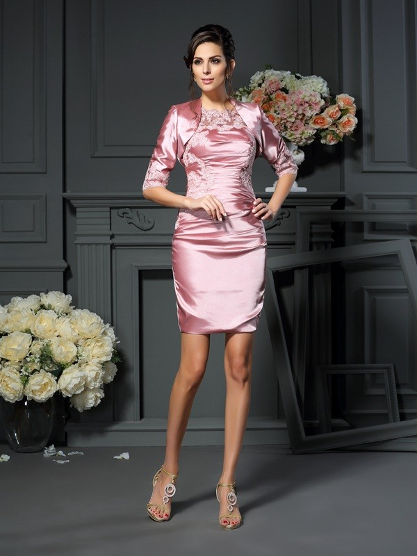 Sheath/Column Scoop Applique Beautiful Short Elastic Woven Satin Mother of the Bride Dress