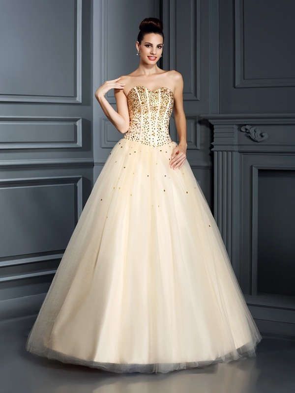 Ball Gown Sweetheart Beading Beautiful Long Satin Quinceanera Dress