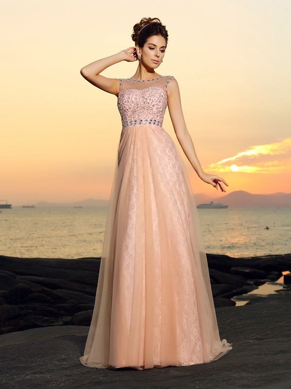 Fashion A-Line Princess Bateau Lace Beautiful Long Chiffon Dress