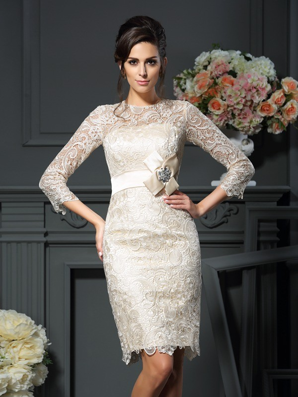 Sheath/Column Scoop Bowknot 3/4 Sleeves Short Lace Mother of the Bride Dress