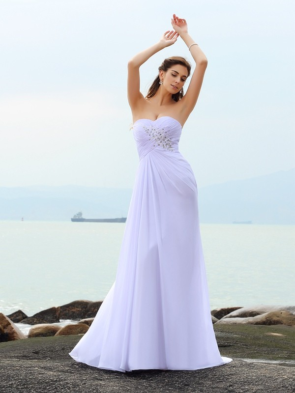 Sheath/Column Sweetheart Beading Beautiful Long Chiffon Beach Wedding Dress