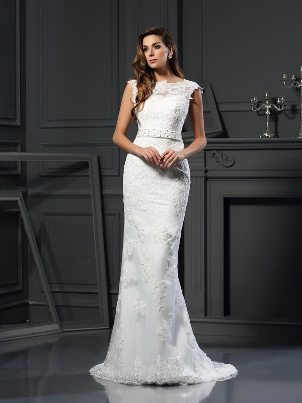 Fashion A-Line Princess Bateau Lace Beautiful Long Satin Wedding Dress