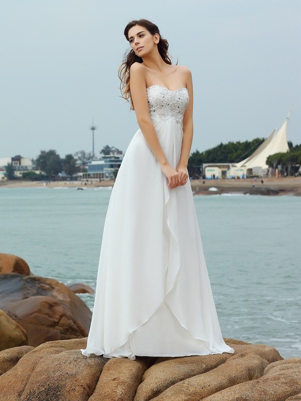 Fashion A-Line Princess Sweetheart Beading Beautiful Long Chiffon Beach Wedding Dress