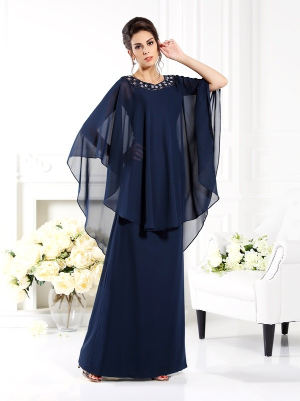 Fashion A-Line Princess Scoop 3/4 Sleeves Long Chiffon Mother of the Bride Dress