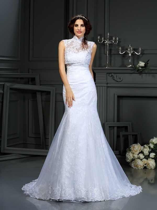 Mermaid Sweetheart Lace Beautiful Long Satin Wedding Dress