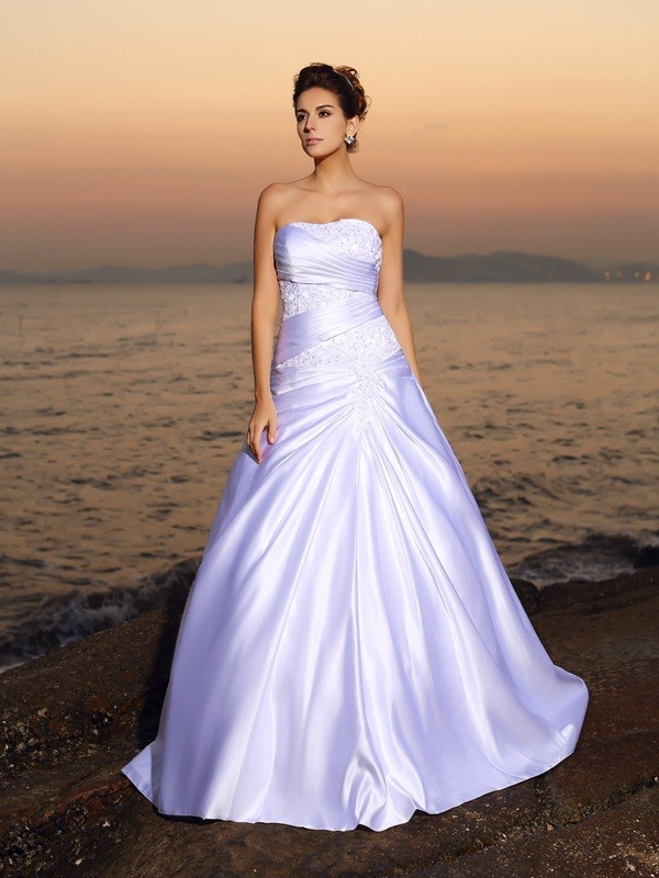 Ball Gown Strapless Beading Beautiful Long Satin Beach Wedding Dress