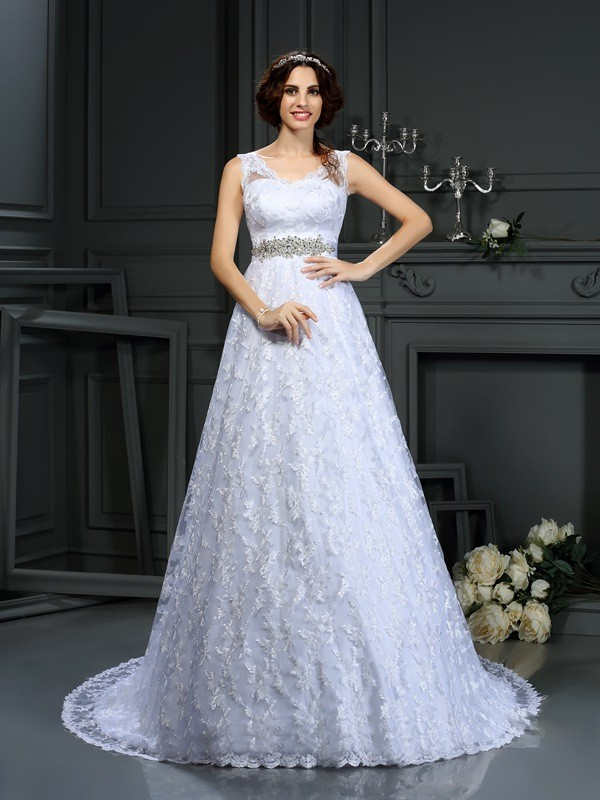Fashion A-Line Princess V-neck Lace Beautiful Long Satin Wedding Dress