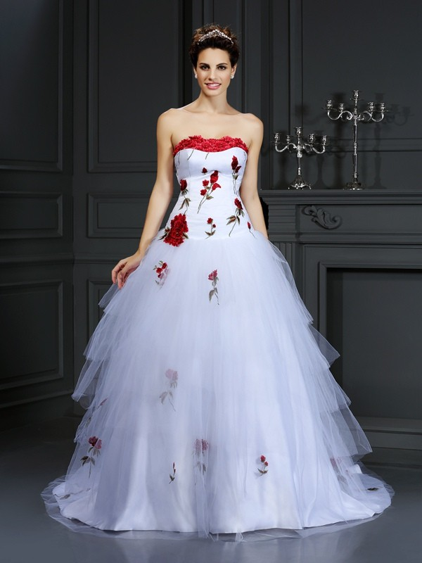 Ball Gown Strapless Hand-Made Flower Beautiful Long Satin Wedding Dress