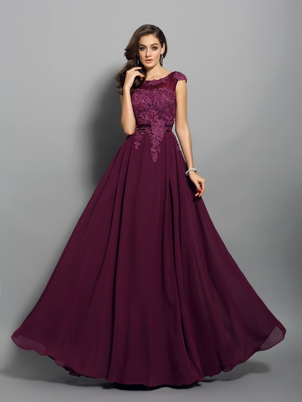 Fashion A-Line Princess Scoop Applique Beautiful Long Chiffon Dress