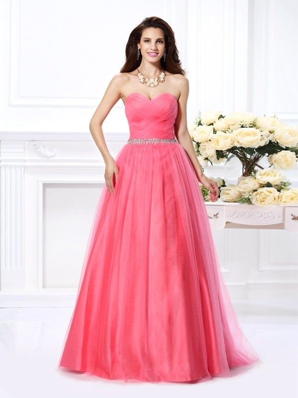 Ball Gown Sweetheart Pleats Beautiful Long Satin Quinceanera Dress
