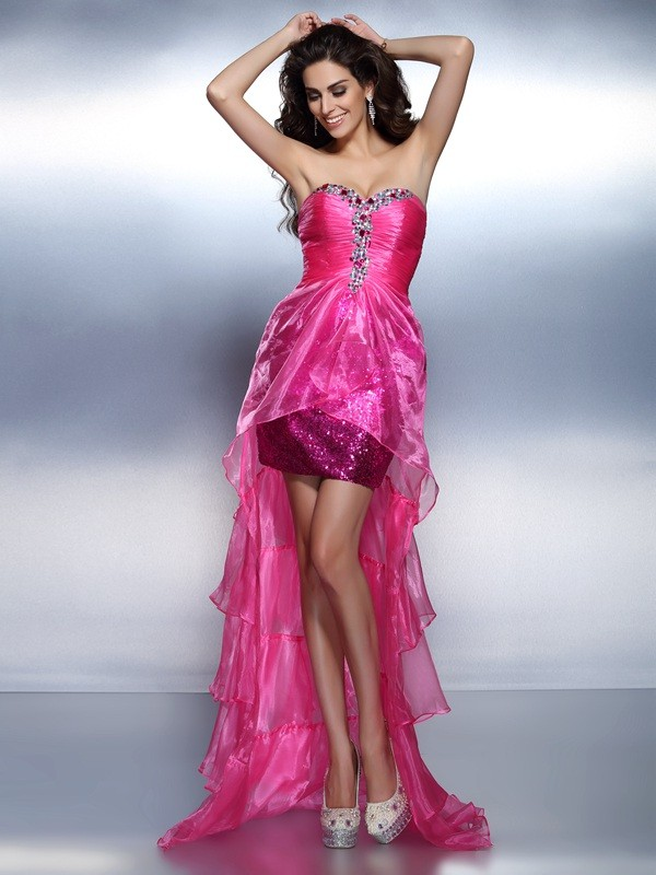 Sheath/Column Sweetheart Beading Beautiful High Low Organza Cocktail Dress
