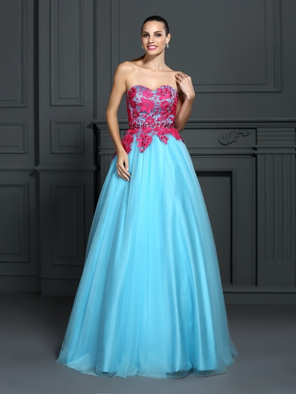 Ball Gown Sweetheart Lace Beautiful Long Satin Quinceanera Dress