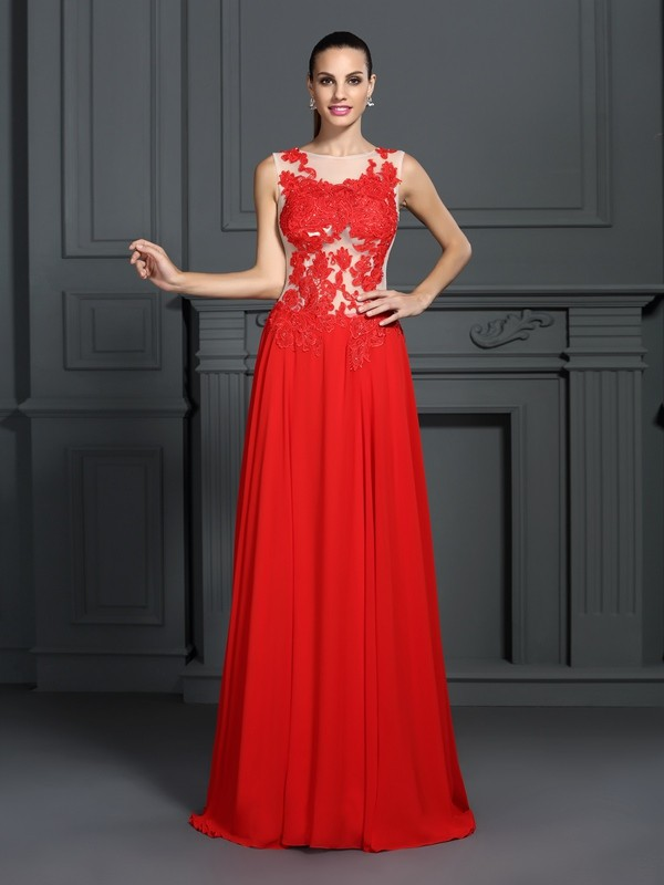 Fashion A-Line Princess Bateau Applique Beautiful Long Chiffon Dress