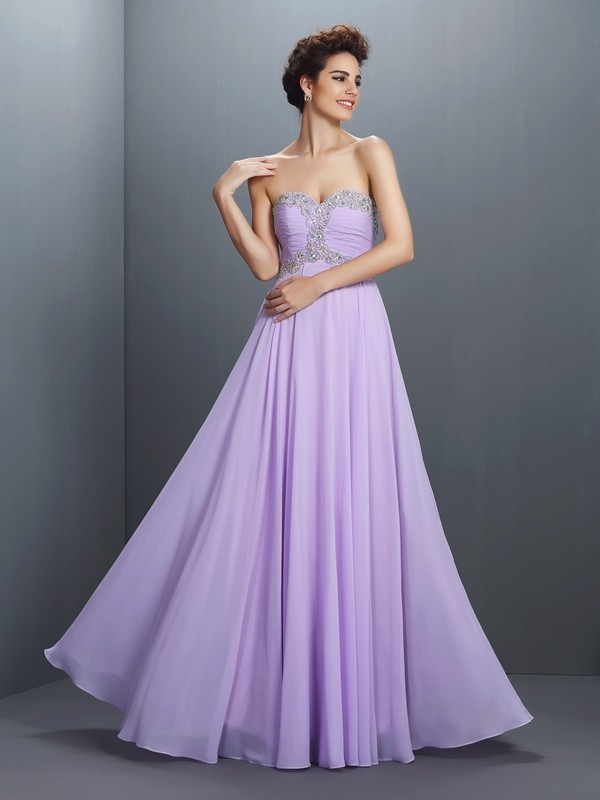 Fashion A-Line Princess Sweetheart Beading Beautiful Long Chiffon Dress
