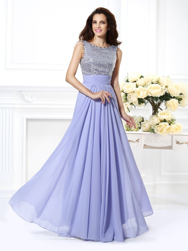 Fashion A-Line Princess Bateau Lace Beautiful Paillette Long Chiffon Dress
